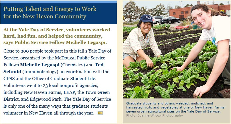 Yale GSAS Newsletter mentions New Haven Farms