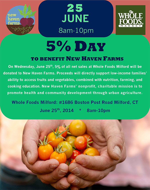 5% Day at Whole Foods Milford to Benefit New Haven Farms